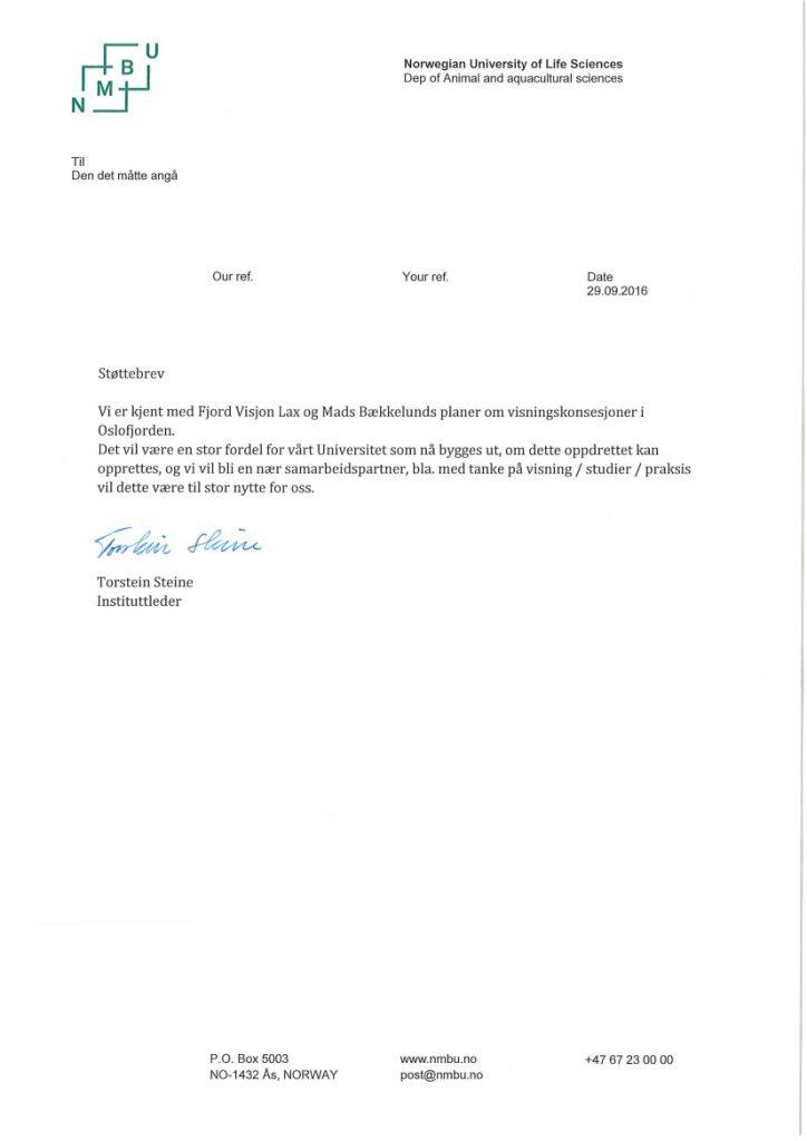 Støttebrev til Fjord Visjon Lax