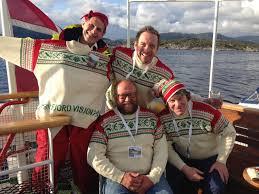 Fra venstre, oppdretter og eier av Firda Seafood Ola Braanaas, Ole Marius Farstad, Carl-Erik Arnesen og Mads Bækkelund » Fjord Visjon Lax AS